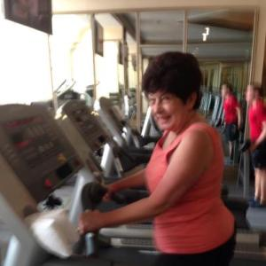 Minu taking care of herself and her heart -- working hard on the treadmill.
