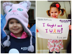 Left: Ava after being diagnosed. Right: Ava on her LAST day of chemo!!