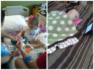 "On the left, Kate after being diagnosed checking out the ""tubies"" that will be implanted in her port so that chemo can be given with less ""pokes"".  On the right, Kate having a particularly bad chemo week. Blankies and iPad time were all she was up for doing that week."